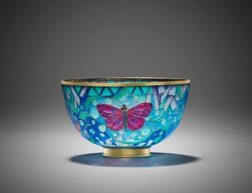 """Butterfly and Bee"" plique-a-jour bowl"