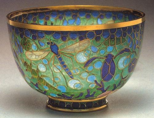 """""""Pond Insects"""" Plique-à-jour Bowl"""