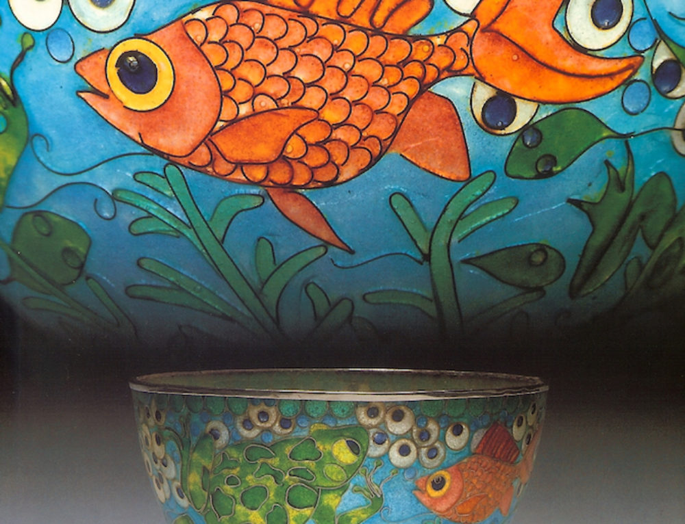 """""""Frog and Fish"""" Plique-à-jour Bowl"""