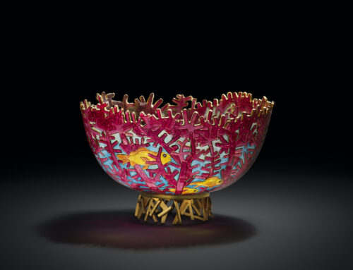 """Red Fan Coral"" plique-a-jour bowl"